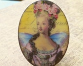 November Sale - Two Plastic Cabochons - 40x30mm Marie Antoinette with Wings (51-13-2)