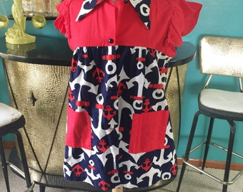 Vintage 1940s style Blouse anchor novelty print nautical red blue Swing PinUp Rockabilly L XL 40s