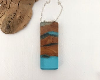 Blue resin and wood pendant, long rectangle necklace, handmade, sterling silver olive wood
