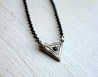 Silver Triangle and Black Diamond Pendant