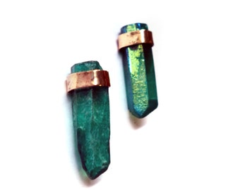Shimmer Forest Green Crystal Studs in 14k Gold Fill Setting