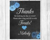 Printable 8x10 Black and White Chalkboard Birthday Girl Candy Buffet Sign with Blue Watercolor Flower - RESERVED FOR ANNETTE