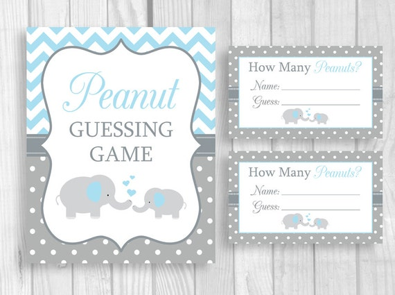 peanut guessing printable 5x7 or 8x10 blue and gray