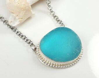 Aqua Sea Glass Necklace Blue Sea Glass Necklace Sea Glass Jewelry Electric Blue Sea Glass Necklace Beach Glass Jewelry - N-501