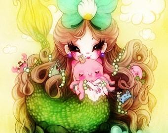 Octopus King - 5 x 7 Print octopus kawaii mermaid cute illustration shrimp ocean nautical nursery print