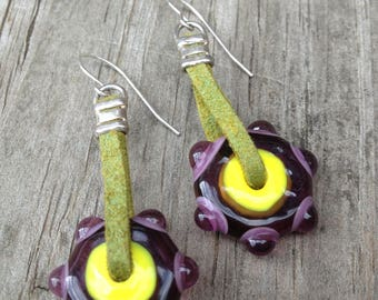 Handmade Artisan Lampwork Glass Bead Earrings With Sterling Silver And Faux Suede
