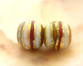 Golden Striped Handmade Lampwork Bead Pair