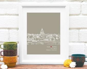 Madison Skyline Art, Chicago Skyline, Personalized Madison Art, Madison Wedding Gift, Anniversary, Wisconsin, Engagement Gift - 8x10 Print
