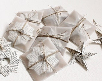Origami Star Ornament Set of 3 - Made of Vintage Book Pages