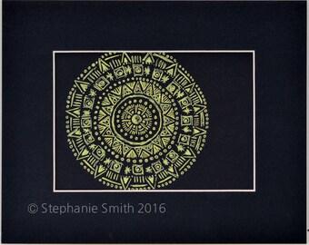 Original Expressive Energetic Mandala Matted Drawing: Yellow Wondering Wheel