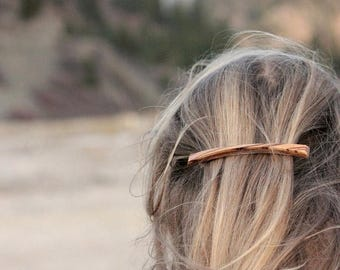 SALE Plateau Barrette | Long Thin Barrette | long skinny wood hair clip | french barrette | zebrawood + walnut