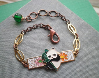 Vintage Enamel Panda Bear & Flowers Bracelet - Retro Cloisonne Floral Panda Animal Totem Bracelet - Repurposed Assemblage Arm Jewelry Gift