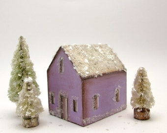 Handmade Wooden Lavender House Set- Original Holiday Decor- Christmas Village- Three Trees- Natural Mica Snow