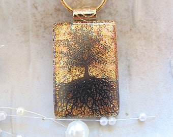 Gold Necklace, Tree of Life, Dichroic Pendant, Fused Glass Jewelry, Necklace Included, A3