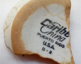 Caribe China Ceramic Shard Sea Pottery Found in Puerto Rico