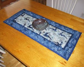 Handmade Quilted Table Runner, Deer Nature Scene, Blue Table Topper