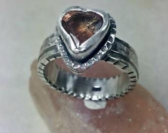 Tourmaline Heart statement ring,  Chunky sterling silver stone  ring ,Tourmaline statement ring, birthstone ring