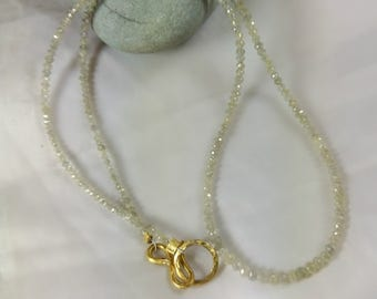 White Diamond Beaded necklace, solid 22 kt gold and diamond necklace,white Diamond beads and solid gold , wedding jewelry