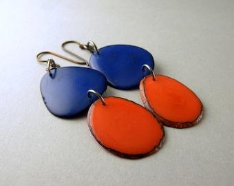 Royal Blue and Orange Tagua Nut Eco Friendly Earrings with Free USA Shipping #taguanut #ecofriendlyjewelry