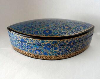 "Vintage Indigo 8 1/8"" Oval Petal Kashmir Paper Mache Lacquered Trinket Box Blue Gold HandMade Painted Large Gift Box Treasure Valet Dresser"