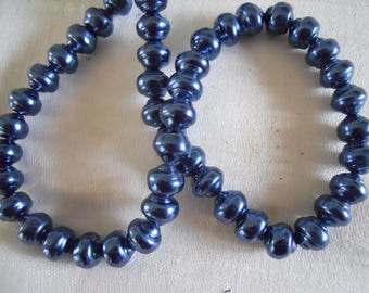 Strand Vintage Czech Glass 10 mm Blue Baroque Pearls