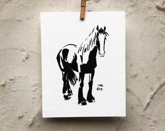 "Horse art original - ""Blaze"" - black and white drawing"