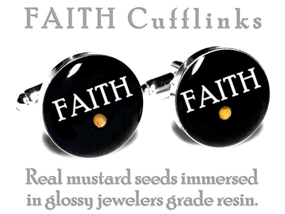 FAITH Cufflinks, Mustard Seed, Wedding Cufflinks, Groom, Fiance Gift, Grooms Cufflinks, Religious, Christian, Catholic,  Anniversary