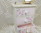 Little Chest of Drawers, Hand Painted Pink Roses, Jewelry Chest, Dresser Display, Shabby Accent, ECS