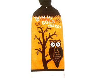 Whoo Goes There? Halloween Owl Hand Towel With Black Crocheted Top