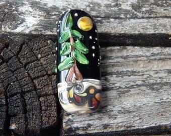 Lone Pine, Focal Bead, Handmade Artisan Glass Lampwork Bead, Simply Lampwork by Nancy Gant SRA G55