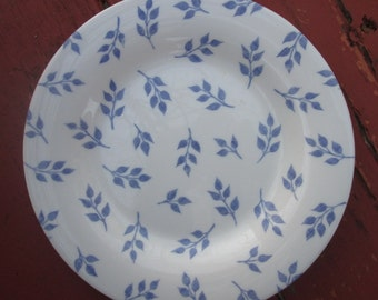 Two White Milk Glass Salad/ Dessert Plates - Blue Leaf by Arcopal France