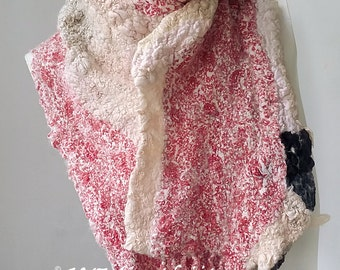 Multicoloured Nuno Felted Collage Scarf - Cream Red Black Winter Scarf  Eco Fashion  Fibre Art