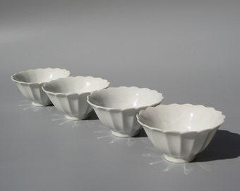 Vintage Fluted Rice Bowls White Flower Dessert Bowls Set of 4 Mix & Match with Lotus Bowls