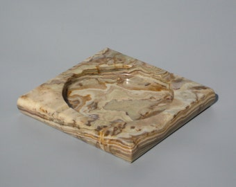 Vintage Marble Ashtray or Change Dish 7 Inches Square Excellent Condition