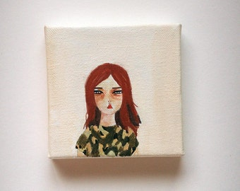 original painting, girl painting, original girl painting, girl art, woman painting, woman art, she waits