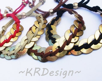 Leather-Brass Disc-Braided-Bracelet / Free US Shipping
