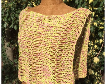 Loose knitted summer cape, capelet, poncho, wrap in yellow, lime and pink