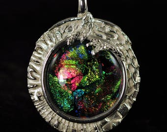 Lively dichroic glass cabochon and fine silver pendant