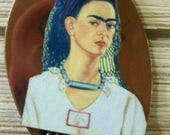 Vintage Renoir Copper Artist Palette Frida Kahlo Collage Pin Brooch Original OOAK Mixed Media With Wooden Image Laser Cut Large Statement
