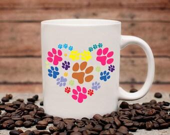 Paw Heart Coffee Mug | Paws on Coffee Mug | Gift for Pet Lover | Coffee Mug Gift | Sublimation Mug |  Animal Rescue Coffee Mug