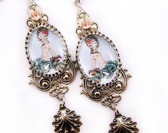 Mermaid Earrings - Baroque Earrings - Pin up Mermaid - Shabby Pink Earrings - Rococo earrings - Pink Rose earrings - Sea Earrings - Shells