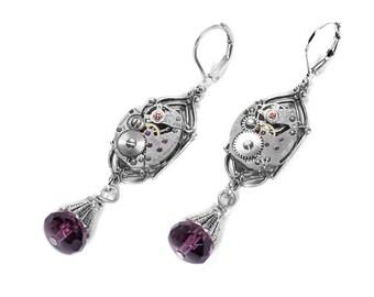 Steampunk Jewelry Earrings Silver ART DECO Watch AMETHYST Crystal Dangle Earrings, February Birthstone Mothers Day - Jewelry by edmdesigns