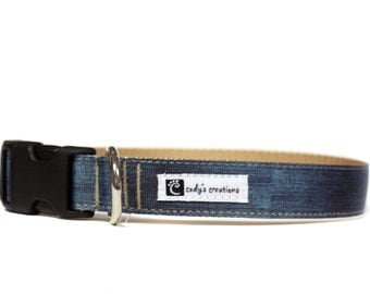 1 Inch Wide Dog Collar with Adjustable Buckle or Martingale in My Favorite Jeans