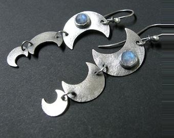 Blue Rainbow Moonstone Earrings, Long Sterling Silver Moon Earrings, Crescent Moon Dangle Earrings, Silversmith Earrings, Metalsmith Jewelry
