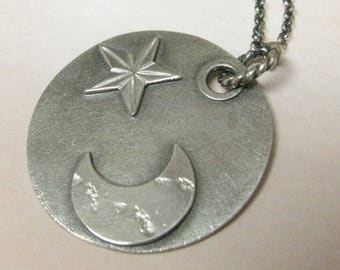 Sterling Silver Moon Necklace, Silver Star Necklace, Argentium Necklace, Moon And Star Pendant Necklace, Artisan Metalsmith Jewelry