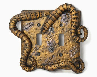 Steampunk Switch Plate, Tentacles, Kraken, Double Light Switch Cover,  Steampunk Art, Steampunk Light Switch Plate, Mechanical