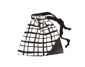 Black and Off White Plaid Drawstring Bag Pouch with Leather Panel