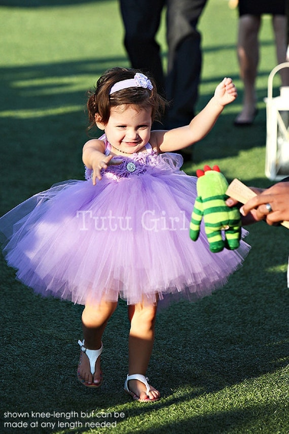 Lavender Flower Girl Tutu Dress, Purple Tutu Dress Girls, SEWN Tutu Dresses, Custom Colors - You Design It
