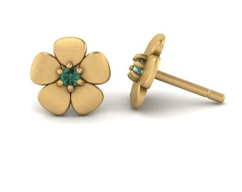 Alexandrite Earrings - June Birthstone Flower Studs in 14k White, Yellow or Rose Gold - Mommy Gift - Laurie Sarah Flower Collection - LS4601