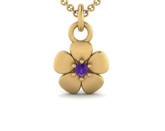 February Birthstone Necklace with Amethyst Flower Pendant in 14k Gold - Flower Girl or Bridesmaid Gift- Laurie Sarah Flower Jewelry - LS4605